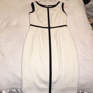 Calvin Klein White and Black Dress (Size 2)